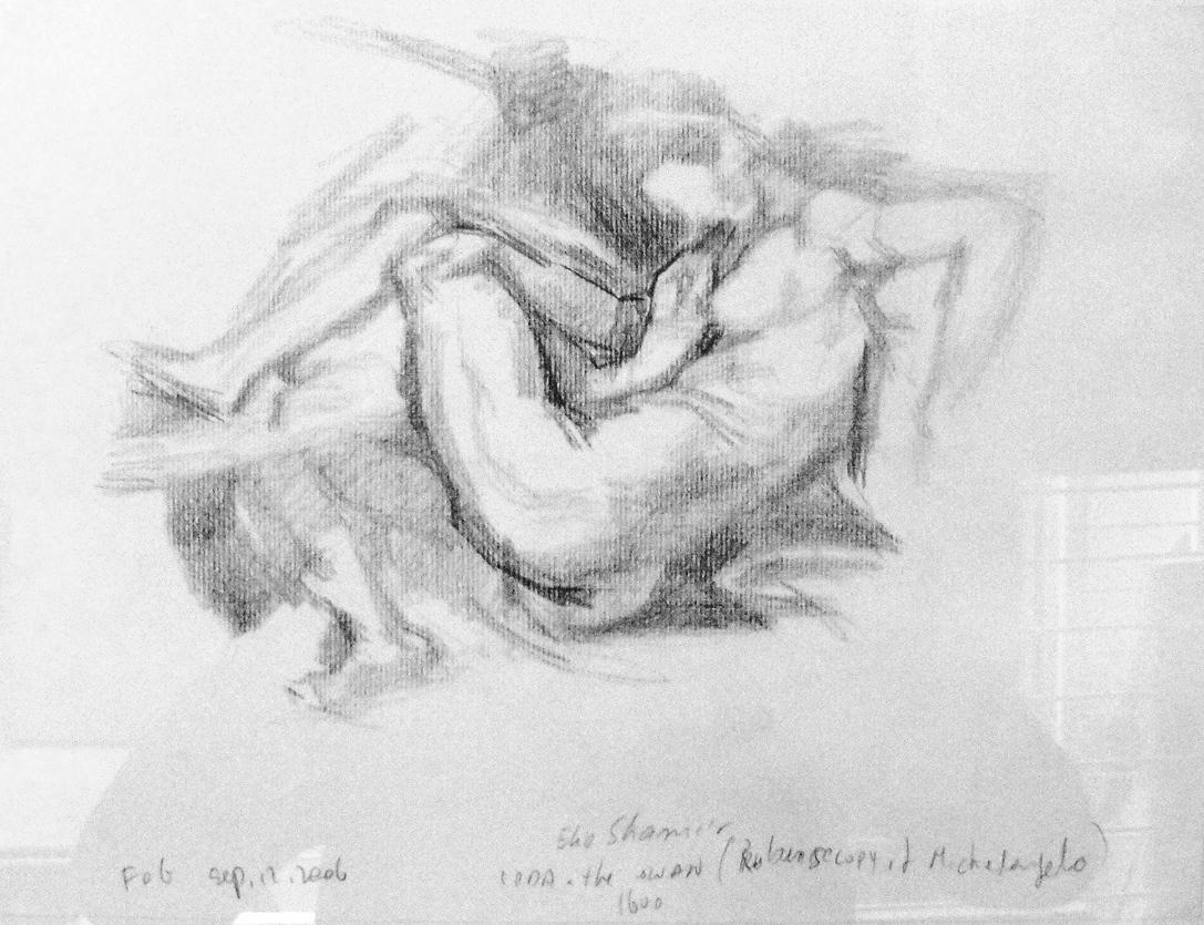 Leda and the swan 1600 Rubens copy Michaelangelo