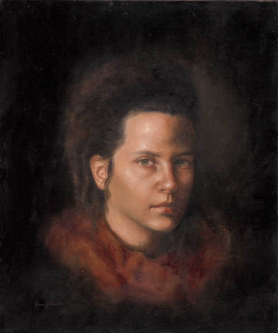 Self Portrait with red scarf