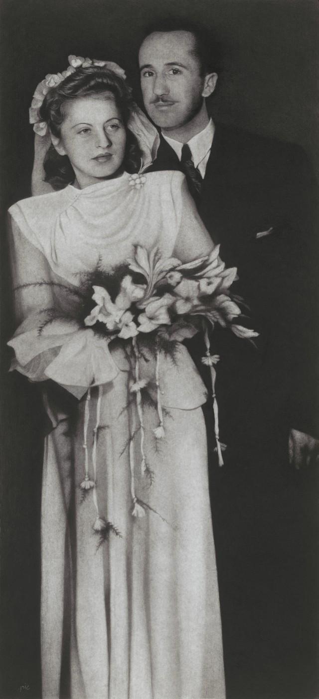 Haim and Ayala Shiff on their wedding day, 1946