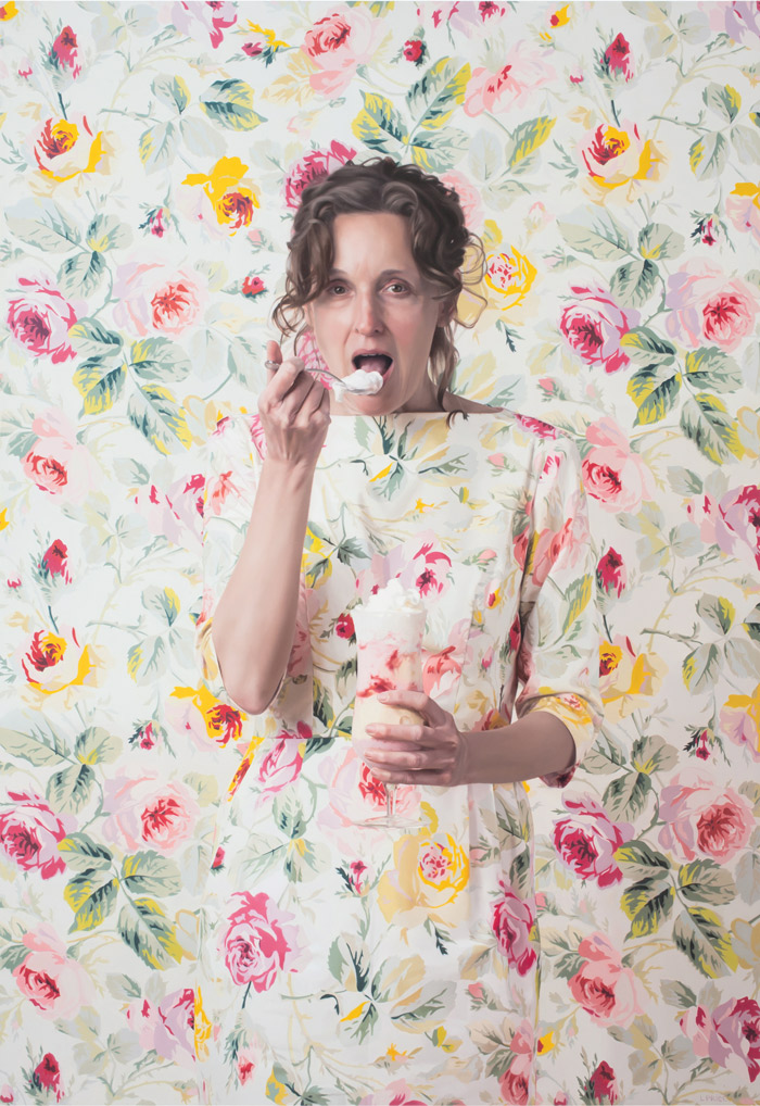 Self Portrait with Parfait in Floral Room